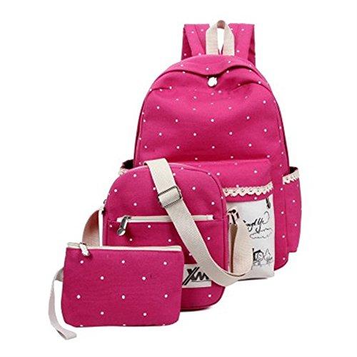 Minetom Damen Schulrucksack Süßigkeit färbt Tupfen 3 Stück Schulranzen Schultasche Rucksack Freizeitrucksack Daypacks Backpack Rose Rot