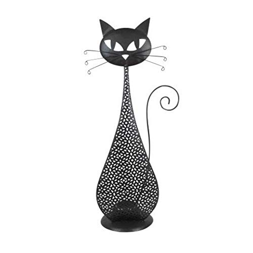 CAPRILO Portavelas Decorativo de Metal y Cristal T-Lite Gato Negro. Velas y Candelabros. Decoración Hogar. Animales. Regalos Originales. 36 x 11 x 9 cm.