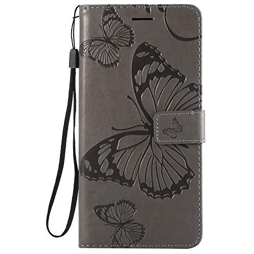 Preisvergleich Produktbild Lomogo LG V40 Hülle Leder, Schutzhülle Brieftasche mit Kartenfach Klappbar Magnetverschluss Stoßfest Kratzfest Handyhülle Case für LG V40 ThinQ - LOKTU23971 Grau