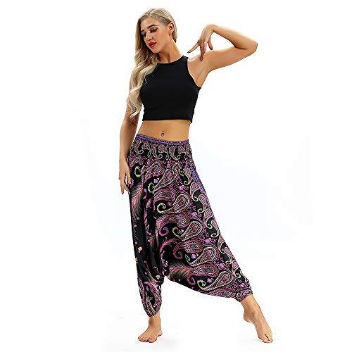 TianWlio Leggings Damen Frauen Beiläufige Lose Yoga Hose Baggy Boho Aladdin Jumpsuit Harem Pants Lila One (Harem Girl Kostüm Aladdin)