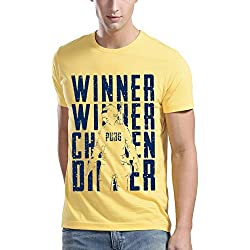 ADRO PUBG Fan Printed Cotton T-Shirt Rnrckn_Light Yellow_X-Large