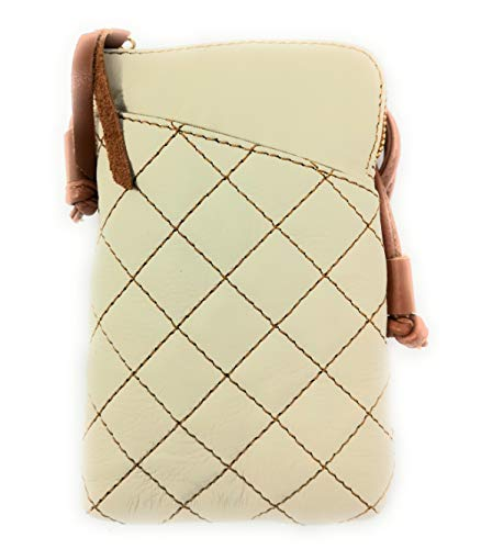 Monahay Small Italian Leather Cross Body Mobile Phone and Passport Travel Pouch Bag MH9723 (gestepptes beige) Iphone Mobile-skin