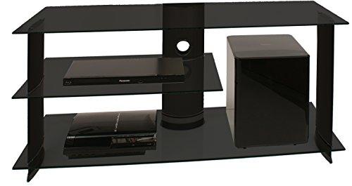 """VCM TV Rack Lowboard Konsole Fernsehtisch LCD LED Möbel Bank Glastisch Tisch Schrank Aluminium Glas Schwarz """"Subuso"""""""