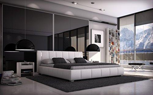 Sedex Bett Luna 180x200cm Doppelbett/Polsterbett inkl. LED/Kunstleder