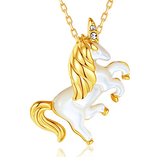 MEGACHIC Collar Mujer Unicornio Oro Nácar Cristales