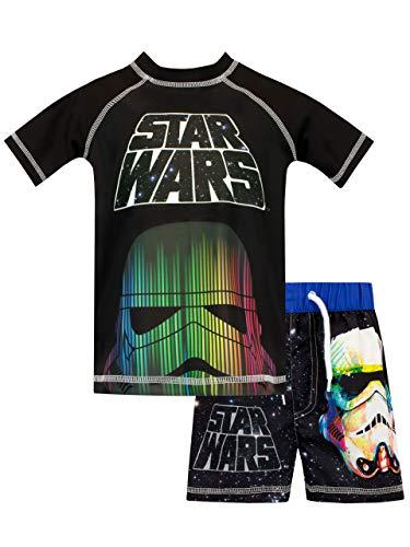 Star Wars Jungen Krieg Der Sterne Zweiteiliger Badeanzug Schwarz 146 - Helm Kinder T-shirt