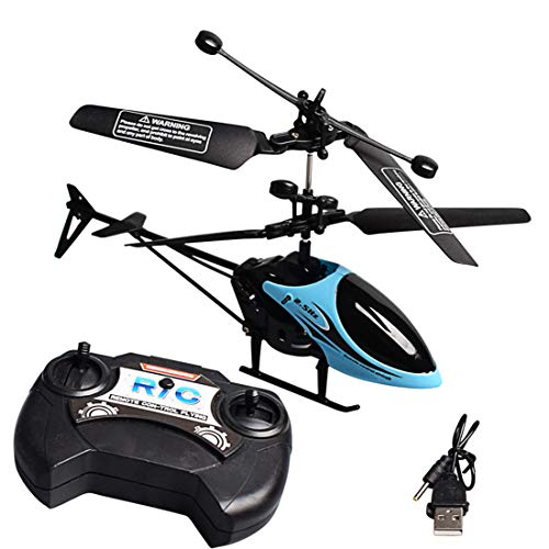 Zgifts Remote Control Helicopter 2 Channel Mini Plane-Hobby RC Radio Plane Toy Crash Resistance for Indoor Outdoor Children Kids, Blau