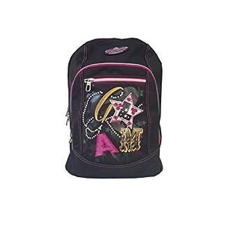 Mochila Seven Girl Negra con Dos Bolsillos Grandes y uno pequeño, con Orificio para USB 42 x 33 x 18 cm
