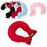 BRAND NEW WOMEN MEN NECK WARMER HOT WATER BOTTLE FLEECE WARM COVER SOOTHING ACHING NEW HOTTIE HEAT (RED)