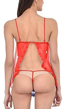 ccf76e4cdd8 PHWOAR Sexy Honeymoon Lingerie For Women Nightwear Net Babydoll Dress  Sleepwear with G-string Panty