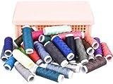 Lot de 40 bobines de fil à coudre de couleur - En coton - Pour machine à coudre et couture manuelle - GeMoor