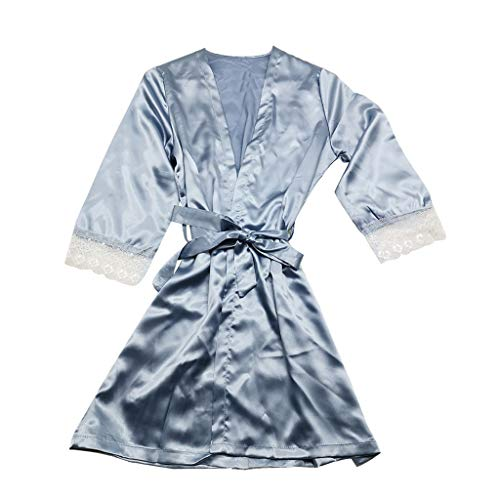 Frauen Sexy Satin Pyjamas Silk Lace Sexy V-Ausschnitt Pyjamas Kimono Cardigan Robe Brautjungfer Brautgeschenke Damengeschenke Single Party Pyjamas Sling Dress(Kimono+Gürtel Hellblau,XXXL)