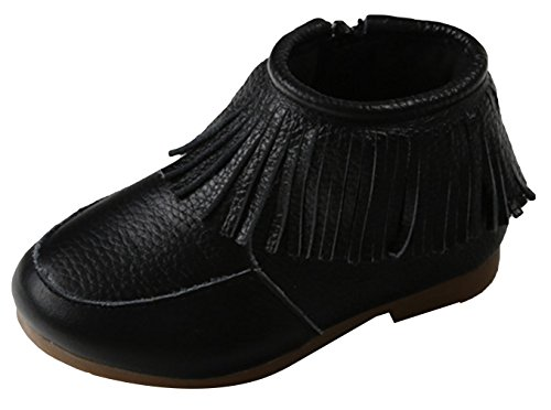 La Vogue Enfant Chaussure Hiver Cuir Doux Frange Doublure Velours Fille Garçon Chaud Boots Noir