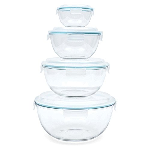 Glasslock 8Stück Sortiment Set ungiftig, Geschirrspüler, Mikrowelle und Gefrierschrank Sichere gehärtetem Glas Rührschüsseln mit Schnappverschluss luftdicht Verschlussdeckel (Farberware 12 Edelstahl)