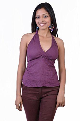Jaipur Kala Kendra Women's Cotton Beachwear Tank Top Casual Wear Top Medium Purple