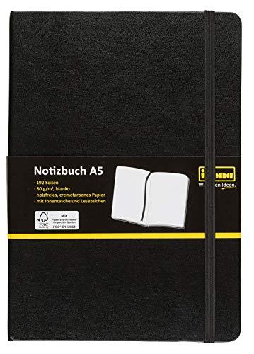 Idena 10054 Notizbuch FSC-Mix, A5, blanko, Papier cremefarben, 96 Blatt, 80 g/m², Hardcover in schwarz, 1 Stück