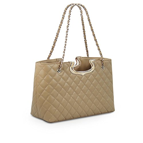 Wewod Frühling Einfache Vintage Damen Einfarbig Rhombus Prägung Kette Tragbare Diagonalen Umhängetasche Schulter Messenger Bag Commuter Tasche Khaki