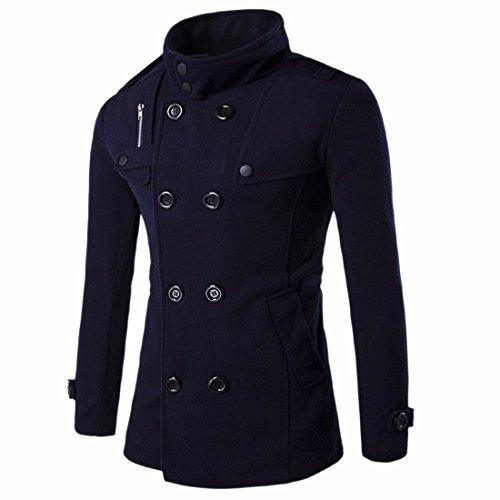 QIYUN.Z Col Montant De La Mode Laine Double Classique Breasted Manteau Pardessus Hommes Bleu Marin