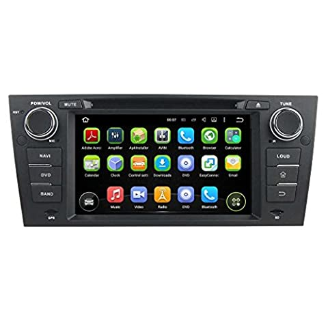 7 pouces Android 5.1.1 Lollipop autoradio pour BMW E90/E91/E92/E93(2005 2006 2007 2008 2009 2010 2011 2012),1024x600 écran tactile capacitif avec Quad Core Cortex A9 1.6G CPU 16G flash et 1G de RAM DDR3 GPS Navi Radio Lecteur DVD 3G/WIFI Aux Input OBD2 USB/SD DVR