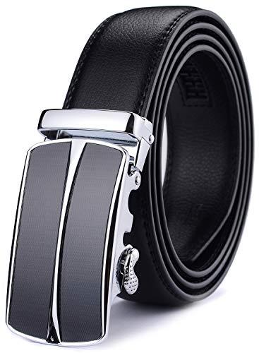 Xhtang-Ledergürtel Herren Automatik Gürtel mit Automatikschließe-3,5cm Breite M - Schwarz - Länge 125cm (Geeignet für 37-43 taille)