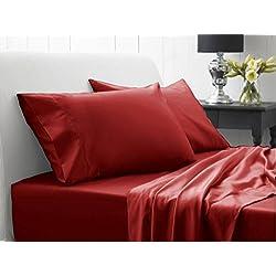 500-hilos AviSales 38,1 cm pulgada{0} con bolsillo Euro IKEA sábana bajera ajustable para cama de matrimonio rojo de 100% algodón egipcio 500tc