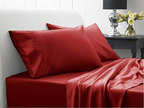 SRP Linen Ägyptische Baumwolle Super Soft 500Fadenzahl 500TC flach oder Top Tabelle mit extra Kissen Einzelbett Großbritannien Burgund Rot Massive 100% Baumwolle Italienisches Finish -