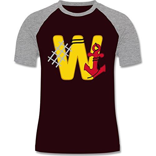 Anfangsbuchstaben - W Schifffahrt - zweifarbiges Baseballshirt für Männer Burgundrot/Grau meliert