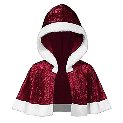 XINAINI Damen Weihnachtsmantel Kapuze Aus Samt - Umhang Weihnachtsmann KostüM Nikolaus Anzug Erwachsenen Santa Claus Cosplay Verkleidung (S,Wein)