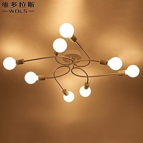 KHSKX Ceiling lamp,Modern creative lighting Korean style simple lamp tritone Nordic wrought iron dining room lighting living room lamp ceiling bedroom light lamp 820*820*170mm , 8