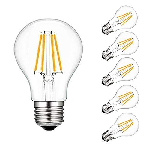 AFSEMOS LED E27 Edison-Schraubbirne, 4W (entspricht 40W), Schraube A19 3000K 400lm warmweiß, klarer Faden, Eichhörnchen-Käfig Wolframkugelglas-Antike Lampe-Pack of 5 -