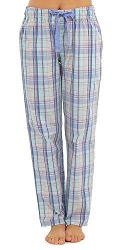 Damen Frauen Tom Franks Karierte Pyjama Hose Schlafanzug (42) Hellblau