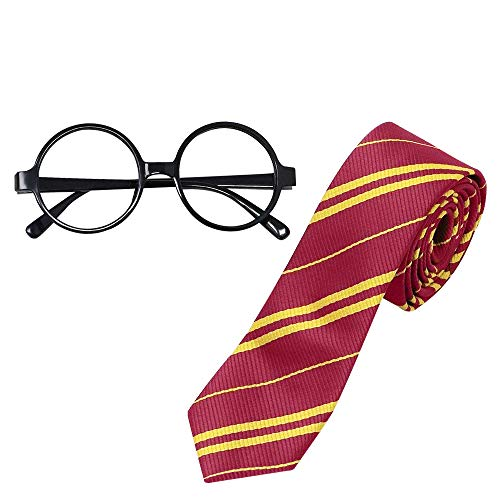 CODIRATO Harry Potter Brille Harry Potter Tie Krawatte, Harry Potter Kostüm Zubehör für Junge und Mädchen am Halloween, - Hermine Kostüm Zubehör