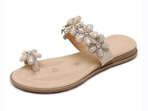 Sandali femminili fiori di diamanti sandali scarpe piane di grandi dimensioni apricot