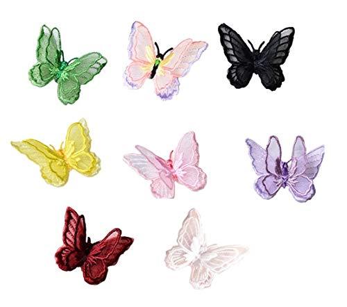 Moolila DIY Schmetterling Patches Organza Applikation mit Kleber für Jacken, Kleid, T-Shirt, Jeans, Rock, Westen, Schal, Tasche, 4,5 x 5 cm 8 Farben - Organza Jacke