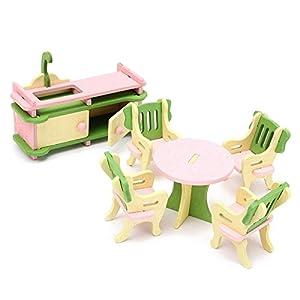 SKNSM Divertente Casa delle Bambole Casa delle Bambole in Legno Set di mobili, Set di mobili in Legn