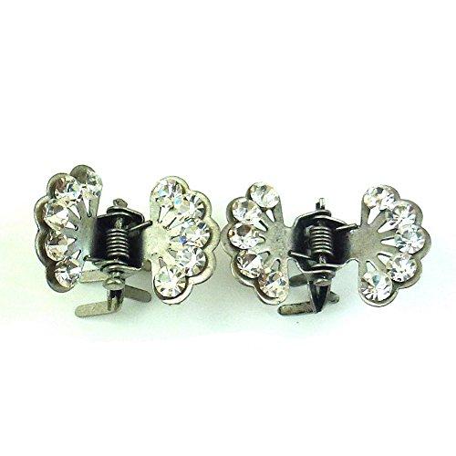 rougecaramel - Accessoires cheveux - Mini pince crabe fleur en strass 2pcs - gris