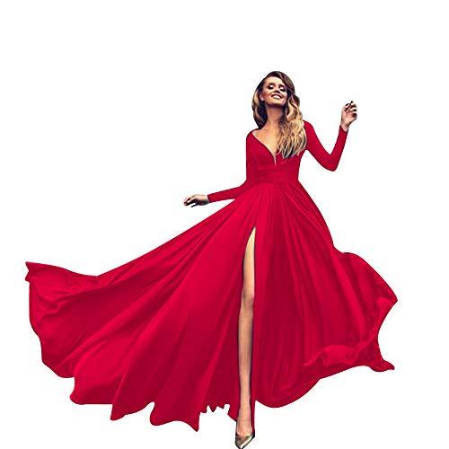 leid Langes Elegantes Kleid Long Sleeve V-Ausschnitt Soild Sling Partykleid Long Dress Sommerkleid Abendkleider ()
