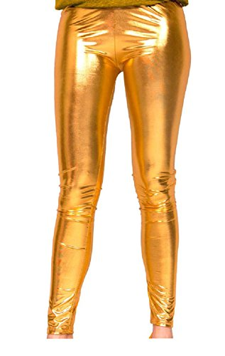 Folat 61715 - Legging Metallic, L-XL, Gold (Gold Leggings Damen)