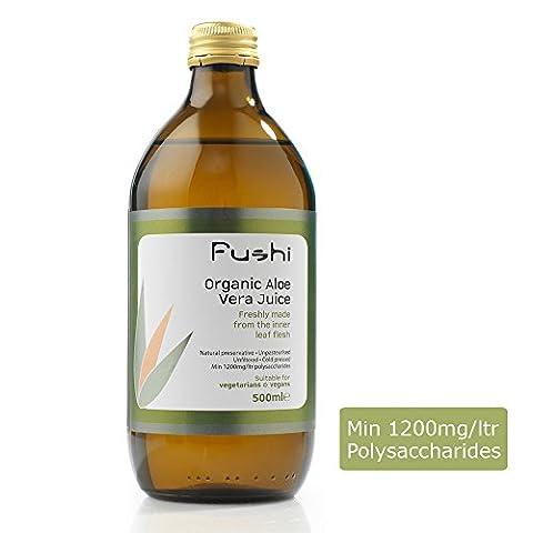 Fushi Aloe Vera Fresh Juice Organic 500ml, Min 1500mg/ltr polysaccharides