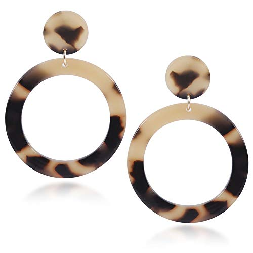Damen Ohrringe Acryl Ohrringe böhmischen Stil Ohrstecker Doppelscheibe Anhänger Ohrringe Damenmode Schmuck Ohrringe (Leopard print)