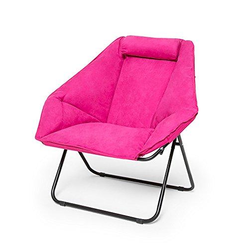 Anna Kletterstuhl Haushalt Klappstuhl Verdicken Wildleder Casual Lounge Stuhl Büro Computer Sofa Stuhl im Freien Strand Stuhl Rosa und Blau (Farbe : Pink) (Outdoor-wildleder-sofa)