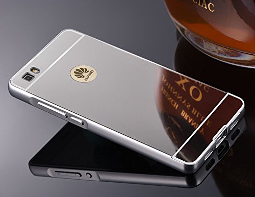 Funda Huawei P8 Lite , Carcasa Trasera Huawei P8 Lite Aluminio y PC Efecto Espejo Funda Huawei P8 Lite Marco Bumper