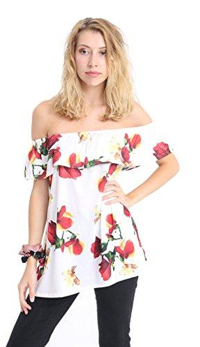 WearAll - Épaule Off cultures plaine court Bandeau Ladies Open Cowl Neck Haut - Hauts - Femmes - Tailles - 36-42 Cream Rose