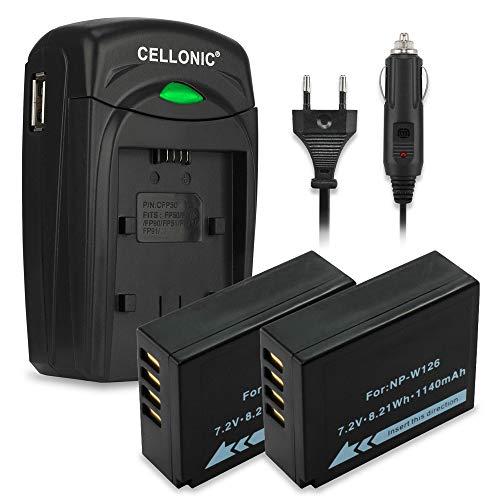CELLONIC 2X Batterie Compatible avec Fuji X-T2 FujiFilm X-T20 X-T10 X-T1 Fuji X-Pro2 X-Pro1 X-A3 X-A2 X-A1 X-A10 X-E2 X-E2s X-E1 X-A10 X100f Accu Rechange NP-W126 Chargeur BC-W126 Cable Voiture