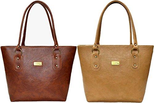 Flora Premium Women's PU Leather Handbag (Combo of 2) -Tan/Light Brown, FLORA-119