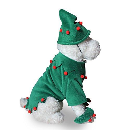 Hund Outfits Weihnachten Kostüm Dekoration Kostüm Tuch mit Hut und Pfote Blumen für Kleine Hunde (Elf) (Pfoten Kostüm Hund)
