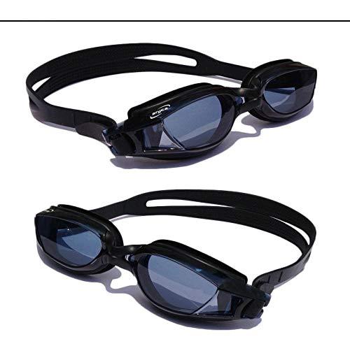 Große, flache Schwimmbrille mit beschlagfreiem Spiegel - schwarz -