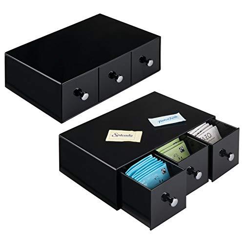 InterDesign Drawers boîte de rangement pivotante pour fournitures de bureau, organisateur de bureau en plastique avec 4 tiroirs, noir