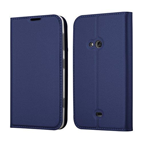 Cadorabo Hülle für Nokia Lumia 625 - Hülle in DUNKEL BLAU – Handyhülle mit Standfunktion und Kartenfach im Metallic Look - Case Cover Schutzhülle Etui Tasche Book Klapp Style