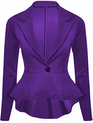 Flirty Wardrobe Plus unie manches longues pour femme Découpe péplum Fourreau ajustée Blazer 8–24 Violet - Violet